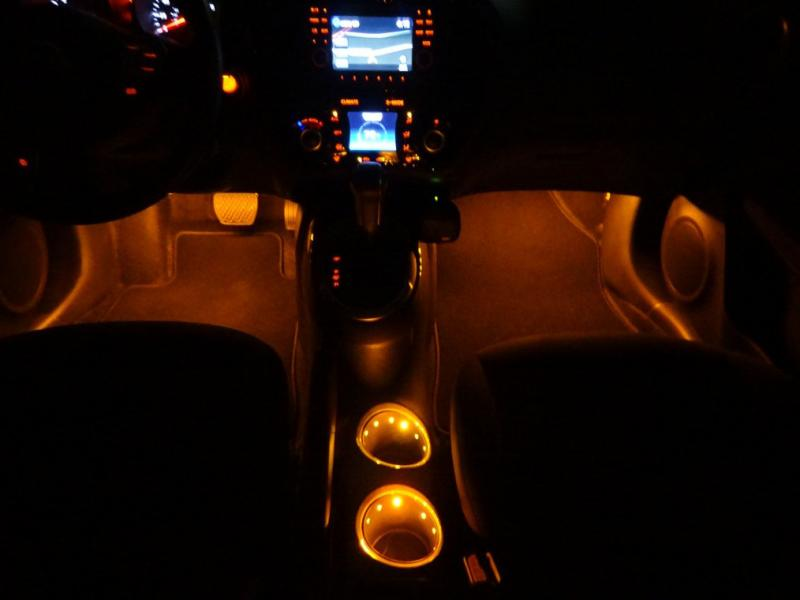 Amber Interior Accent Lighting Footwell Cup Holders